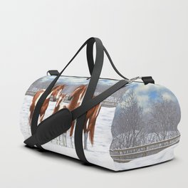 Chestnut Pinto Paint Horses In Snow Duffle Bag