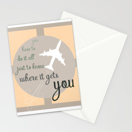Travel quote- inspirational quote- wanderlust quote- airplane- plane- success Stationery Cards