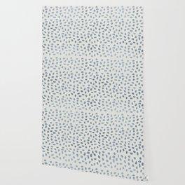 Simply Ink Splotch Indigo Blue on Lunar Gray Wallpaper