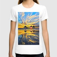calendars T-shirts featuring Sunset ~ Huntington Beach Pier CA  11/7/13 by John Minar Fine Art Photography