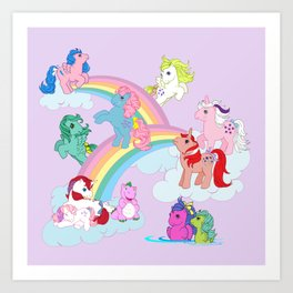g1 my little pony early characters group Art Print