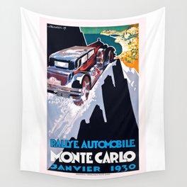 1930 Monaco Rallye Monte Carlo Racing Poster Wall Tapestry