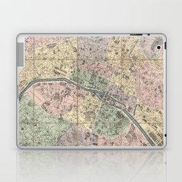 Vinage Map of Paris France (1878) Laptop & iPad Skin