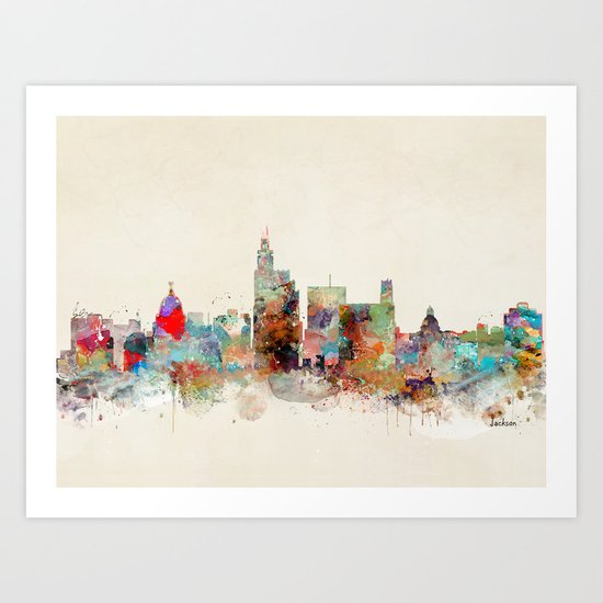 jackson mississippi skyline Art Print