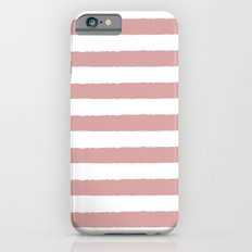 Mauve and white stripes - classy college student collection iPhone 6s Slim Case