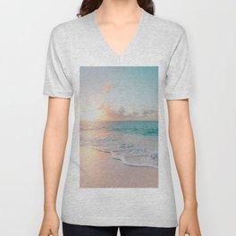 Ocean Wave and Sunset Beach Unisex V-Neck