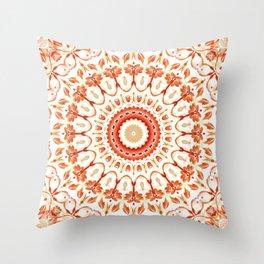 Floral Sun Mandala Throw Pillow