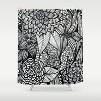 alisa burke Shower Curtains featuring doodles by Alisa Burke