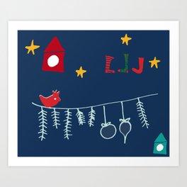 Holiday bird blue Art Print