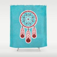 dreamcatcher Shower Curtains featuring Dreamcatcher by Ludivineem