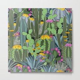 Simple Graphic Cactus Garden Metal Print