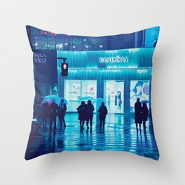 Tokyo Nights / Rain / Liam Wong Throw Pillow