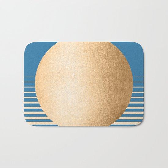 Sun Gradient - Orange Sherbet Shimmer on Saltwater Taffy Teal Bath Mat