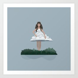 Cloud and woman Art Print