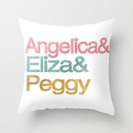 Schuyler Sisters in helvetica colors Throw Pillow
