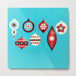 Retro Christmas Baubles Metal Print