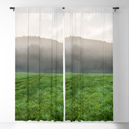 Morning mist over the fields Blackout Curtain