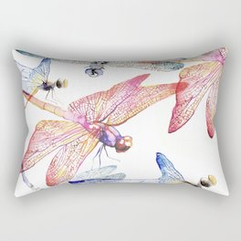 Dragonfly Pack Pink and Blue Rectangular Pillow