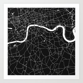 London Black on White Street Map Art Print
