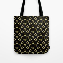 Stars. Gold and black pattern. Tote Bag