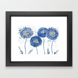 four blue dandelions watercolor Framed Art Print