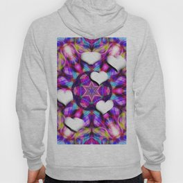 Floating hearts on abstract vibrant kaleidoscope Hoody