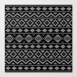 Aztec Essence Ptn III Grey on Black Canvas Print