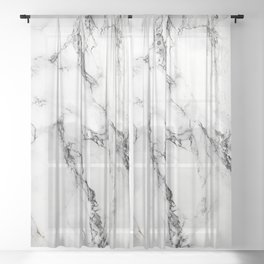 White Faux Marble Texture Sheer Curtain