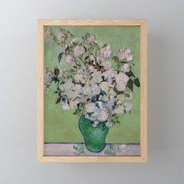 Vincent van Gogh Vase with Pink Roses Framed Mini Art Print