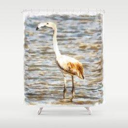 Pretty Flamingo Fledgling Watercolor Shower Curtain