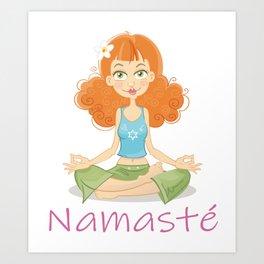 Smiling Girl practising Yoga Lotus Pose Art Print