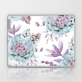 Turquoise and Violet Succulents Laptop & iPad Skin