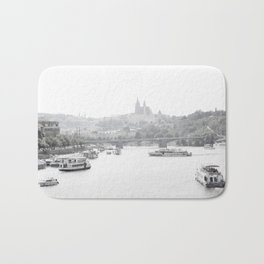 Prague in black and white Bath Mat