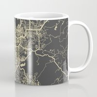 san diego Mugs featuring San Diego Map by Map Map Maps