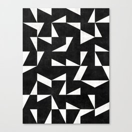 Mid-Century Modern Pattern No.10 - Black and White Concrete Canvas Print