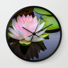 Pink Lotus & Green Lily Pads On A Jet Black Pond Wall Clock
