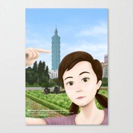Fern Selfie with Taipei 101 Canvas Print