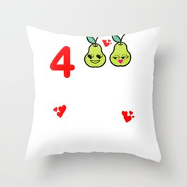 4th Wedding Anniversary Great Pear Couples design Throw Pillow