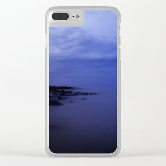 When the night falls - Blue hour at the Sea Landscape at Night #Society6 Clear iPhone Case