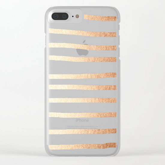 Simply Drawn Stripes Deep Bronze Amber Clear iPhone Case