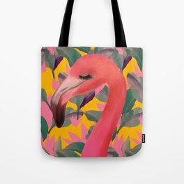 Flamingo with retro Luxe Lilies Tote Bag