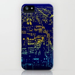 Chicago city lights at night iPhone Case