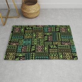 Polynesian Geometric Tapa Cloth - Black Rug