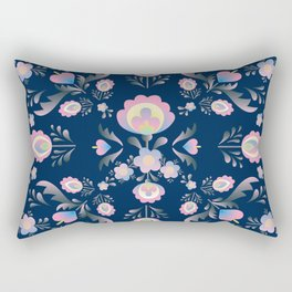 Folk Flowers in Pink and Indigo Rectangular Pillow
