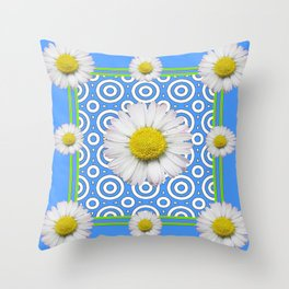 Baby Blue Modern Deco Style Shasta Daisies Art Throw Pillow
