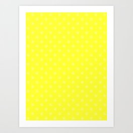 Cream Yellow on Electric Yellow Snowflakes Art Print