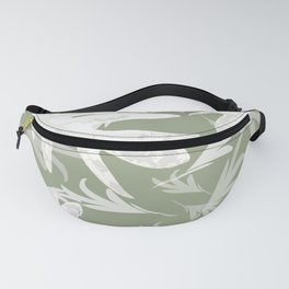 Trio palm leaves White olive green autumn fall tropical pattern society6 Fanny Pack