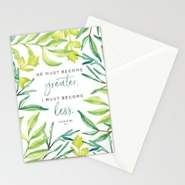He Must Become Greater Stationery Cards