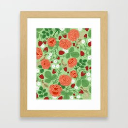 Roses and strawberries on green Framed Art Print