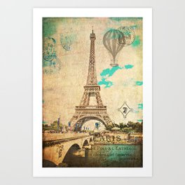 Vintage Eiffel Tower Paris Art Print